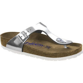 Birkenstock Gizeh Soft Footbed Flips Women metallic silver